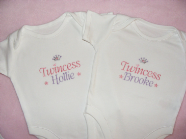 2  Personalised Twins Twincess baby vests/ bodysuits matching items available